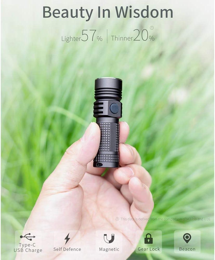 M3 Professional Type C Outdoor Waterproof Compact Flashlight CREE XPL LED Mini High Light Flashlight 1020 LM High Light Flashlight USB Rechargeable Small Flashlight B