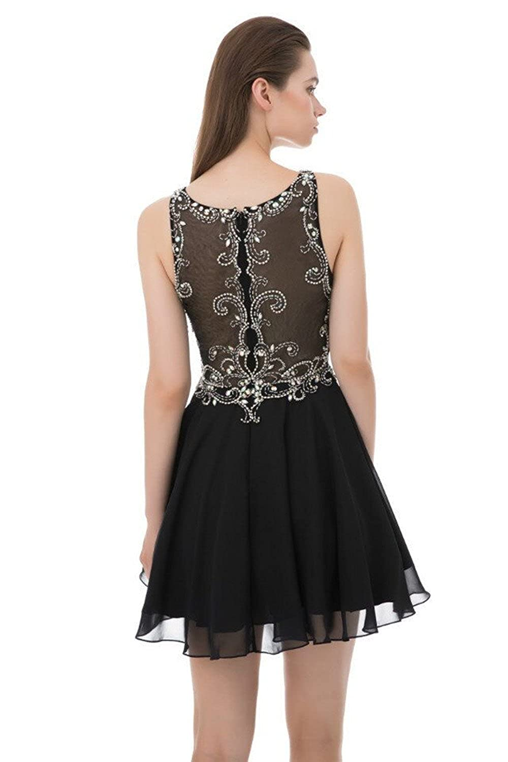 2d2da8d0db1 SHANGSHANGXI Little Black Party Dress Rhinestone Beaded Prom Dresses  Sparkly Cocktail Gown at Amazon Women s Clothing store