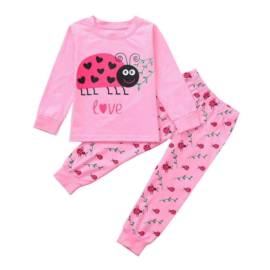Zerototens Baby Clothing Set, Toddler Infant Boys Girls Ladybird Print Pink Long Sleeves T-Shirt Top+Long Pants Autumn Spring Casual Clothes Outfit Sets