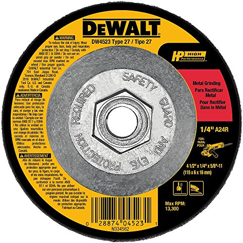 - DEWALT DW4523 4-1/2-Inch by 1/4-Inch by 5/8-Inch General Purpose Metal Grinding Wheel