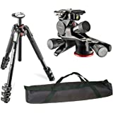 Manfrotto MT190XPRO4 4-Section Aluminum Tripod Kit with MHXPRO-3WG XPRO Geared Head with A VidPro 35 inch Tripod Carrying Case with Strap