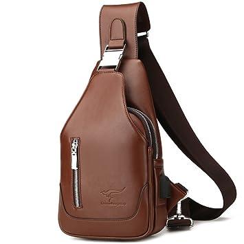 f6ccf124ff Rullar Mens PU Leather Sling Bags Multipurpose Chest Shoulder Crossbody  Messenger Business Backpack Travel Hiking School