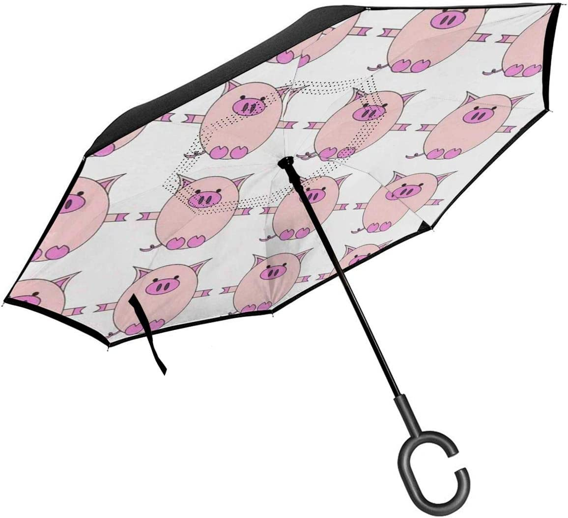 PYFXSALA Cute Pink Pig Windproof Inverted Umbrella Double Layer UV Protection Folding Reverse Umbrella for Car Rain Outdoor Self Stand Upside Down with C-Shaped Handle