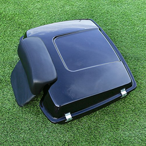 (XFMT Vivid Black Razor Tour Pak Pack Trunk w/Tour-Pak Backrest Pad Compatible with Harley Road Street Glide 1997-2013)