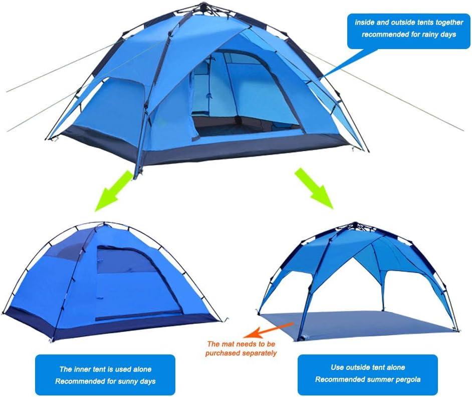 KLFD 3-4 Personas Doble Capa Hidráulico Tienda, Uso Dual Impermeable Carpa para Camping Incluye Accesorios, Ideal para Festival de Playa Picnic Senderismo Pesca Camping,Verde Green