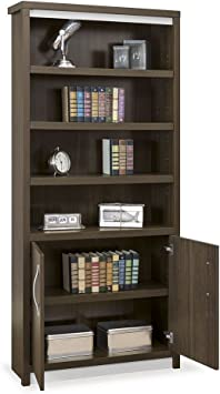 Nbf Signature Series Six Shelf Bookcase With Doors 78 H Boardwalk Walnut Laminate Silver Laminate Base Silver Hardware Dimensions 36 W X 11 75 D X 78 H Weight 178 Lbs Dimensions And Parts Furniture Decor Amazon Com