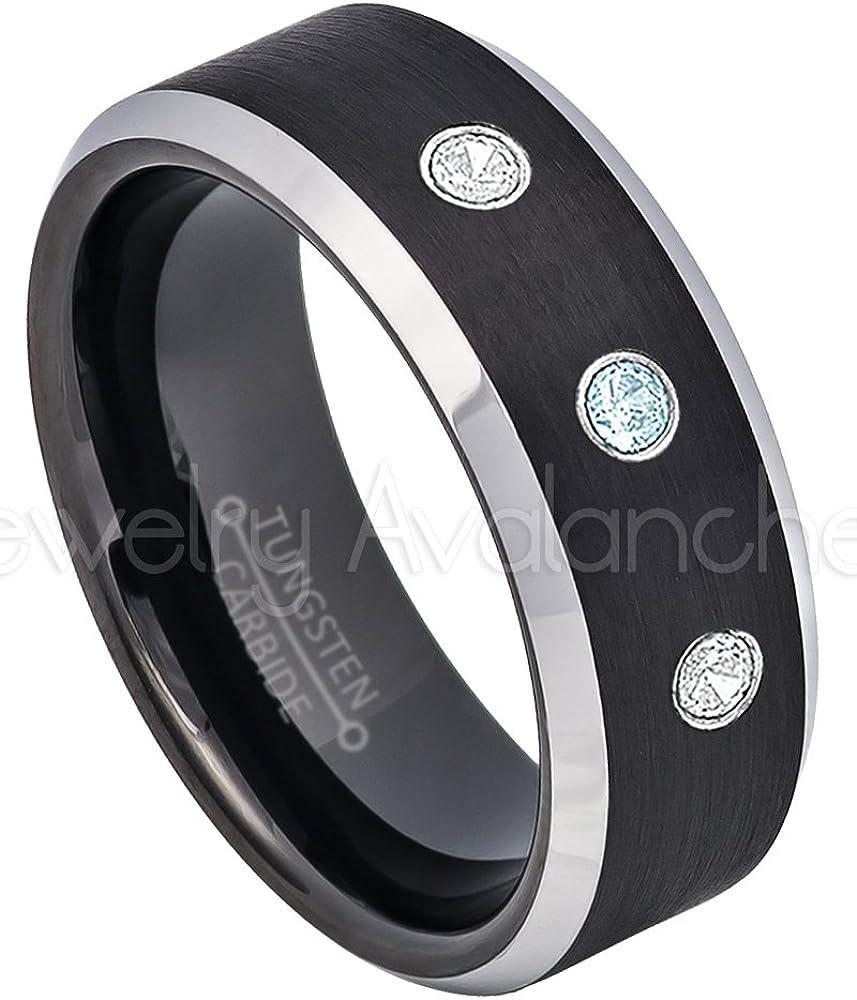 Comfort Fit 2-Tone Tungsten Carbide Ring Tungsten Wedding Ring 8mm Black Tungsten Ring November Birthstone Ring 0.21ctw Topaz /& Diamond 3-Stone Anniversary Band
