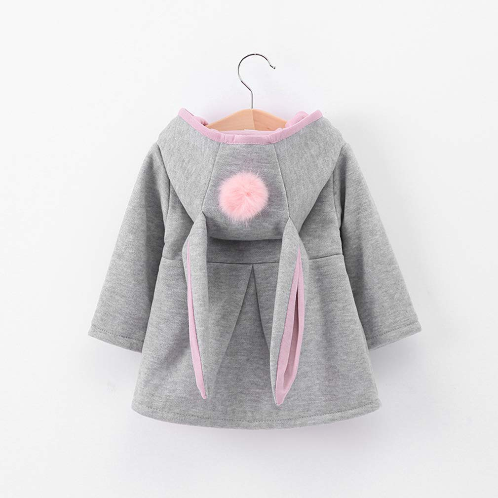Infant Baby Girls Autumn Winter Warm Coat Cute Cartoon Rabbit Ears Hooded Jacket Outerwear Overcoat Kids Toddler Clothes