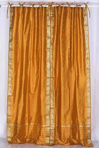 Indian Selections Lined-Mustard Tie Top Sheer Sari Curtain/Drape/Panel