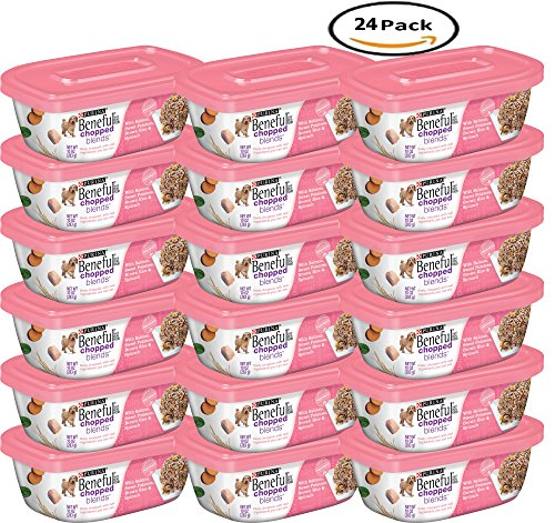 PACK OF 24 - Purina Beneful Chopped Blends With Salmon, Sweet Potatoes, Brown Rice & Spinach Dog Food 10 oz. Plastic Tub by BENEFUL WET