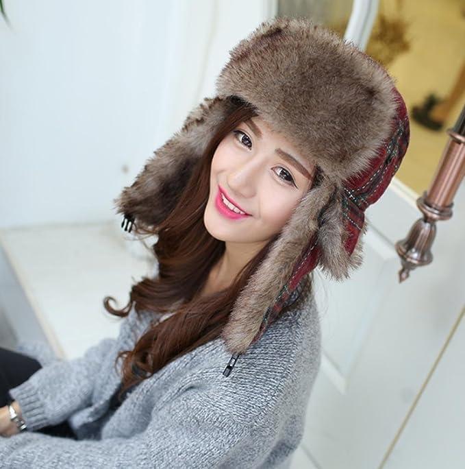 MHGAO Ear Cappellino Invernale Ispessimento Caldo Cappello Esterno  Antivento per Le Signore Ushanka 779abe563991