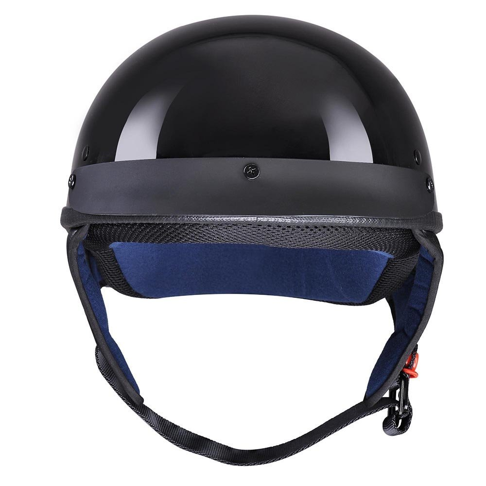 LeeMas Inc Glossy Black Motorcycle Helmet Half Open Face with DOT Approved Removable Visor Chopper Cruiser Scooter Bike (Size S)