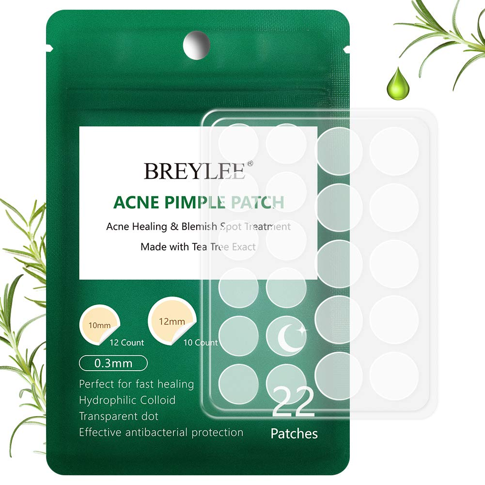 Acne Patch, BREYLEE Acne Treatment Tea Tree Acne Dots Acne Absorbing Cover Pimple Healing Sticker Blemish Spot Treatment Hydrocolloid Acne Patch (22 Count)