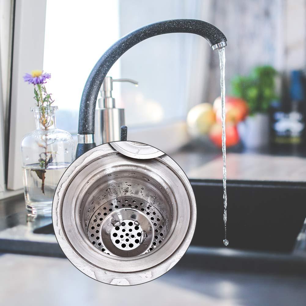 5 PCS Stainless Steel Sink Strainer Plug Kitchen Bathroom Sink Plug Cover Shower Drain Cover Hair Catcher Plug Hole Sink Tub Strainer Drain Filter Basket Strainer Waste Plug
