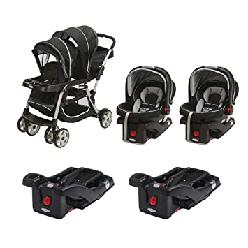 Graco Ready2Grow ClickConnect Dual Stroller With Two Car Seats And Bases Gotham