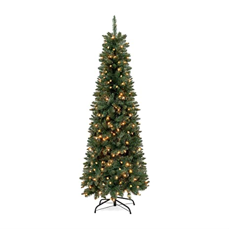 Image Unavailable. Image not available for. Color: 7.5ft Pre-Lit Hinged Fir Artificial  Pencil Christmas Tree ... - Amazon.com: 7.5ft Pre-Lit Hinged Fir Artificial Pencil Christmas