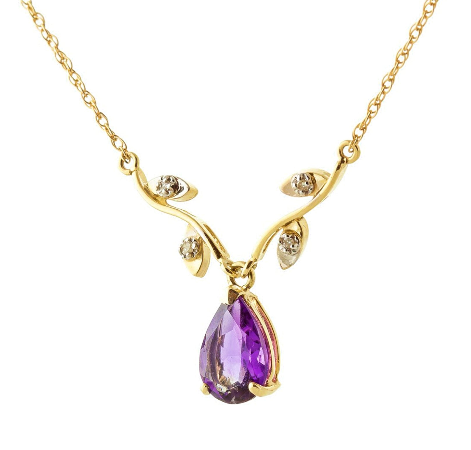 Galaxy Gold 14K White, Rose, Yellow Gold Amethyst and Diamond Vine Branch Design Pendant Necklace with 1.52 Carats (Carat Total Weight) Natural Diamonds & Pear-Shaped Purple Amethyst (yellow-gold, 14)