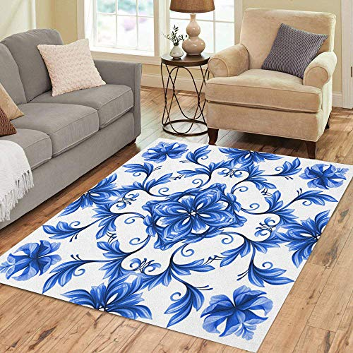 - Pinbeam Area Rug Porcelain Abstract Floral Blue White Gzhel Chinese Pattern Home Decor Floor Rug 2' x 3' Carpet