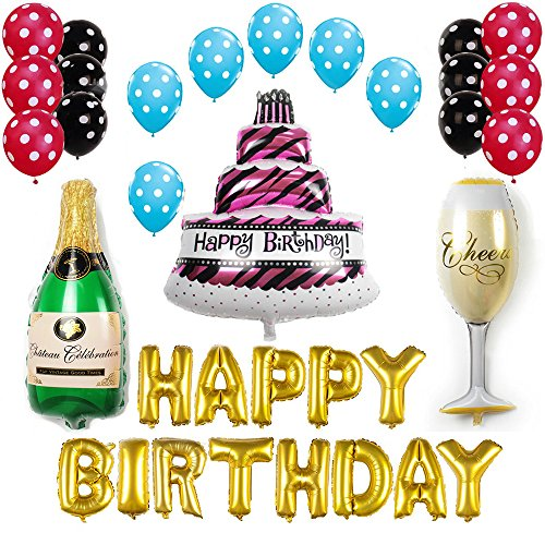 Ezing Happy Birthday Cake Champagne Cup Bottle Foil Balloon Birthday Party Pack  Black Gold Latex Balloon Decorations Party Supplies (C)