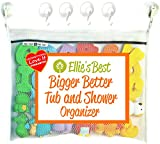 Ellie's Best Bath Toy Organizer Heavy Duty 4 Superlock Suction Cups for Glass & Glazed Tile, Includes Commercial Gade Velcro Used if Suction is Impossible for Boys Girls Toddlers & Grown-Ups, X-Large