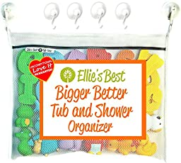 Ellie\'s Best Bath Toy Organizer Heavy Duty 4 Superlock Suction Cups for Glass & Glazed Tile, Includes Commercial Gade Velcro Used if Suction is Impossible for Boys Girls Toddlers & Grown-Ups, X-Large