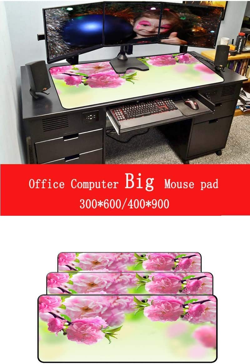 WHFDSBDMouse Pad 900 400Mm Soft Rubber Pink Flower Comfort Gaming Mat Mice Pad Computer Laptop Large Lock Edge Mousepad