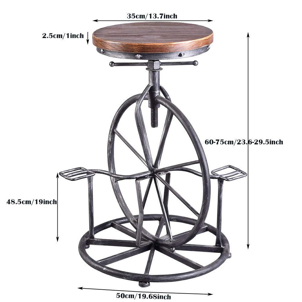 Pleasant Details About Industrial Bar Stool Swivel Vintage Coffee Kitchen Chair Bicycle Pedal Footrest Evergreenethics Interior Chair Design Evergreenethicsorg