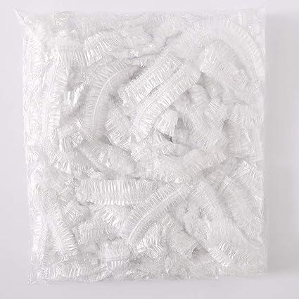 8e95b5e602f14 Romdink Impermeable 100 unids Desechables Ducha clara Gorro de baño Gorro  de pelo Spa Salón Baño