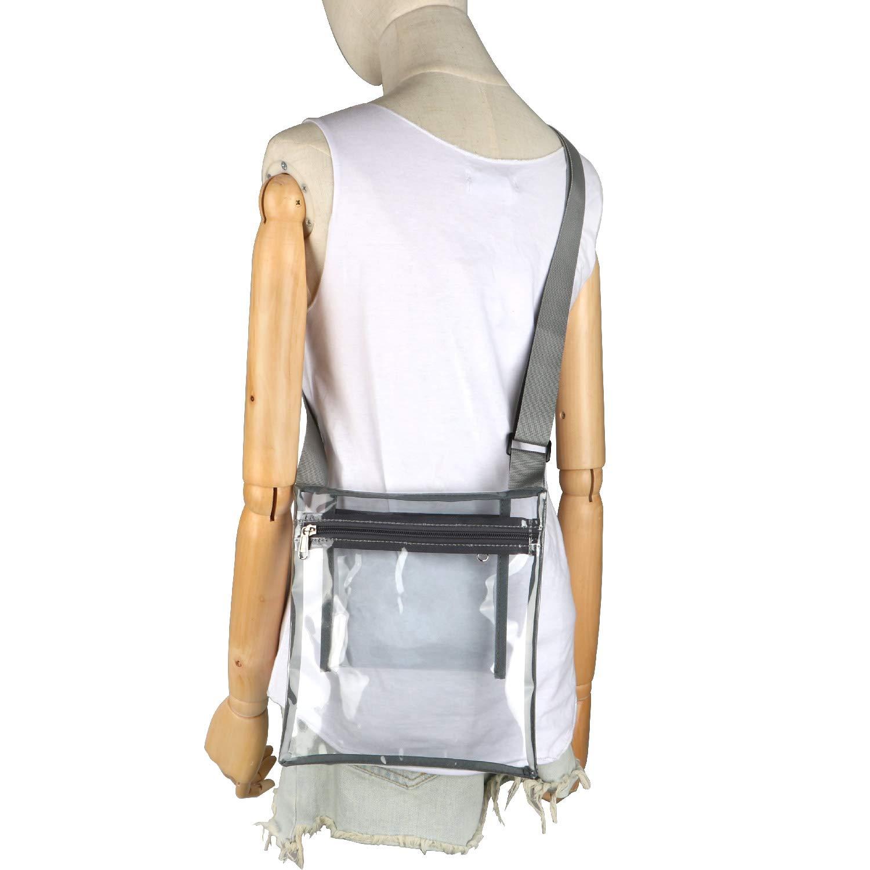 Concert Sports Games Stadium Approved Bag with Extra Inside Pocket and Adjustable Shoulder Strap for Work HULISEN Clear Crossbody Purse Bag School