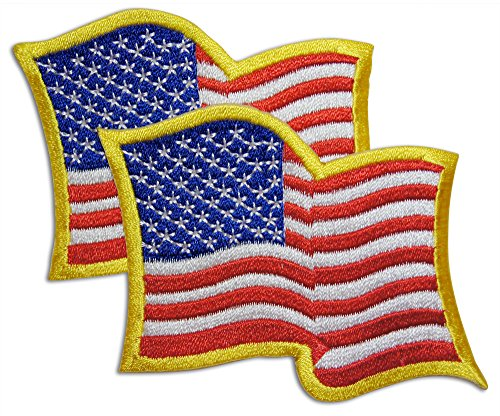 2-Piece Wavy American Flag Patch With Yellow Trim Sew or Iron On by Novel Merk ()