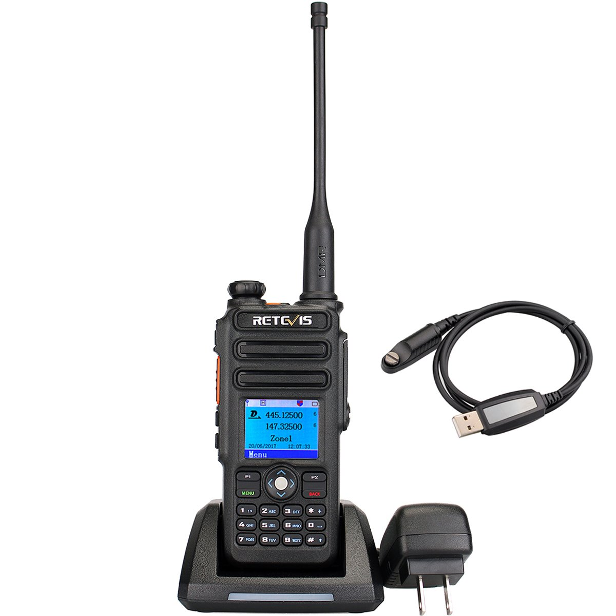 Retevis RT82 Dual Band DMR Digital 2 Way Radio 5W 136-174MHZ/400-480MHZ 3000 Channels 10000 Contacts List Waterproof GPS Ham Amateur Radio with Record Function and Programming Cable by Retevis