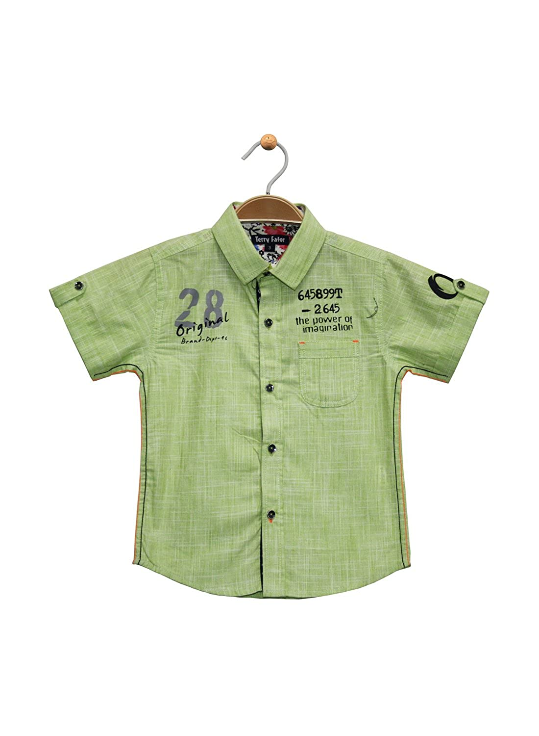 42d2950a Terry Fator Boy's Half Sleeve Printed Cotton Shirt - Green: Amazon.in:  Clothing & Accessories