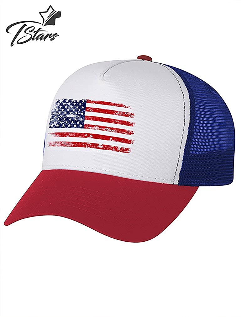 792ddedf219 4th of July Vintage Distressed USA Flag American Patriot Trucker Hat Mesh  Cap One Size Blue White Red at Amazon Men s Clothing store