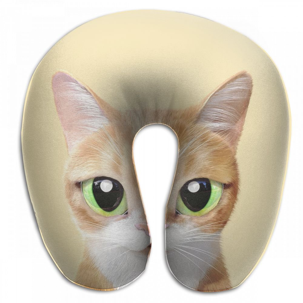 Sunny-D Yellow Cat U Shaped Pillow Slow Resilience Memory Foam 100% Soft Comfortable Neck Pillow For Travel,Airplane,Office And Home Use