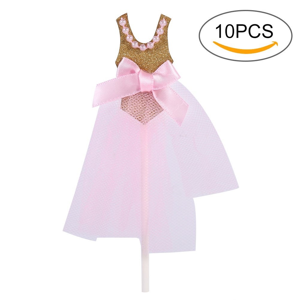 Cupcake Toppers, 10Pcs/Pack Pink Princess Skirt Glitter Birthday Wedding Baby Shower Cupcake Toppers for Party Decor by Estink