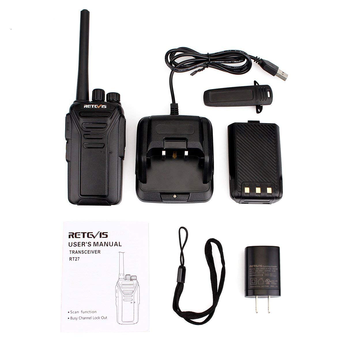 A9133AX2 Retevis RT27 Walkie Talkies for Adults FRS 2 Way Radios Long Range VOX Handfree 2pack