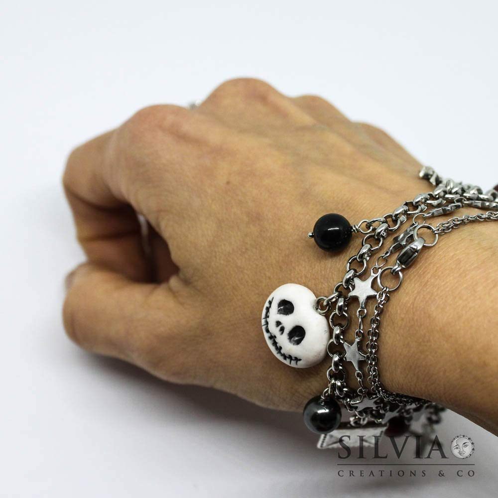 Bracciale catena acciaio Jack Halloween inspired con charms
