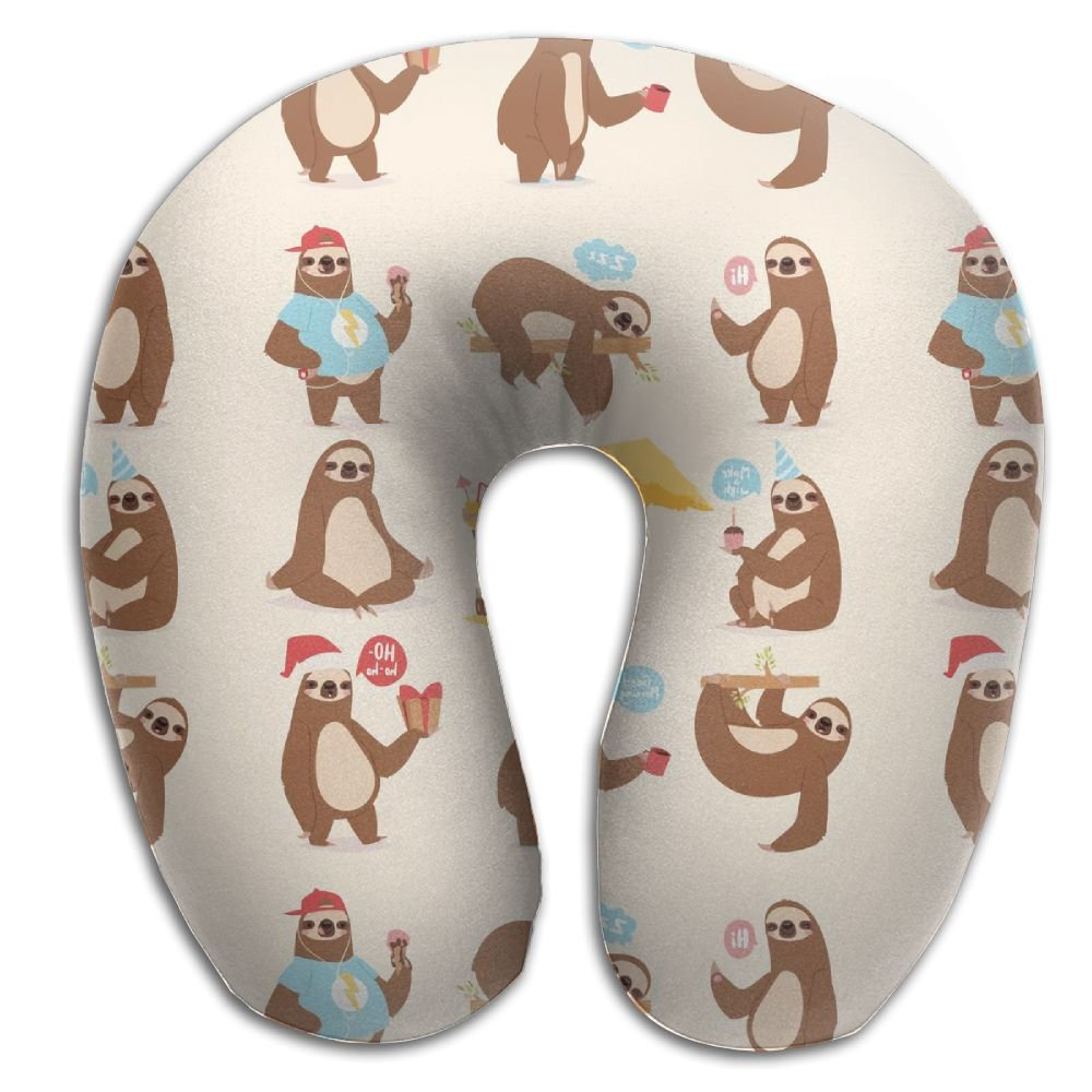RONG FA Sloth Lives Everyday 100% Pure Memory Foam Neck Pillow,Comfortable U Shaped Cushion Neck Pillow With Head And Neck Supports For Airplanes Travel,Car,Driving