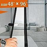 Magnet Screen Door Curtain, 48 X 96 Inch Patio Sliding Door Mesh Pet Kids Easy to Access Fiberglass Screen Door Fit Your Door Frame Size 46W X 95H Inch with Full Frame Hook&Loop Door Curtains(Gray)