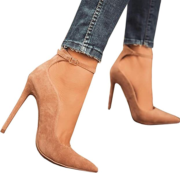 83b78bf641d3 HotiQues Women s Lace Up Pointy Toe High Heels Ankle Strap Buckle Dress  Pumps
