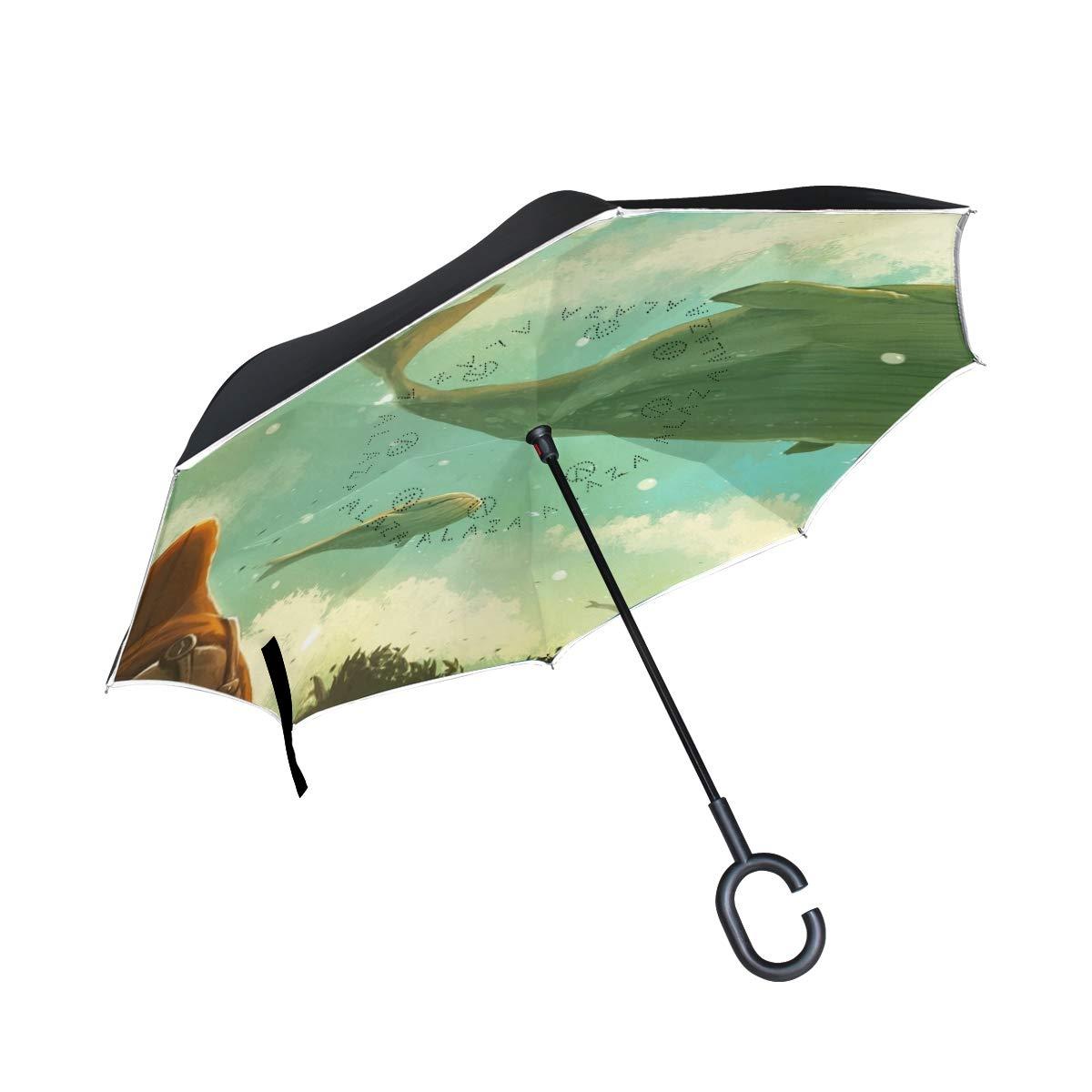 キュートで面白いオレンジの絵文字柄の反転傘 2層 防風 UV保護 コンパクト 車 逆傘 One Size picture8 B07GRSZGB9