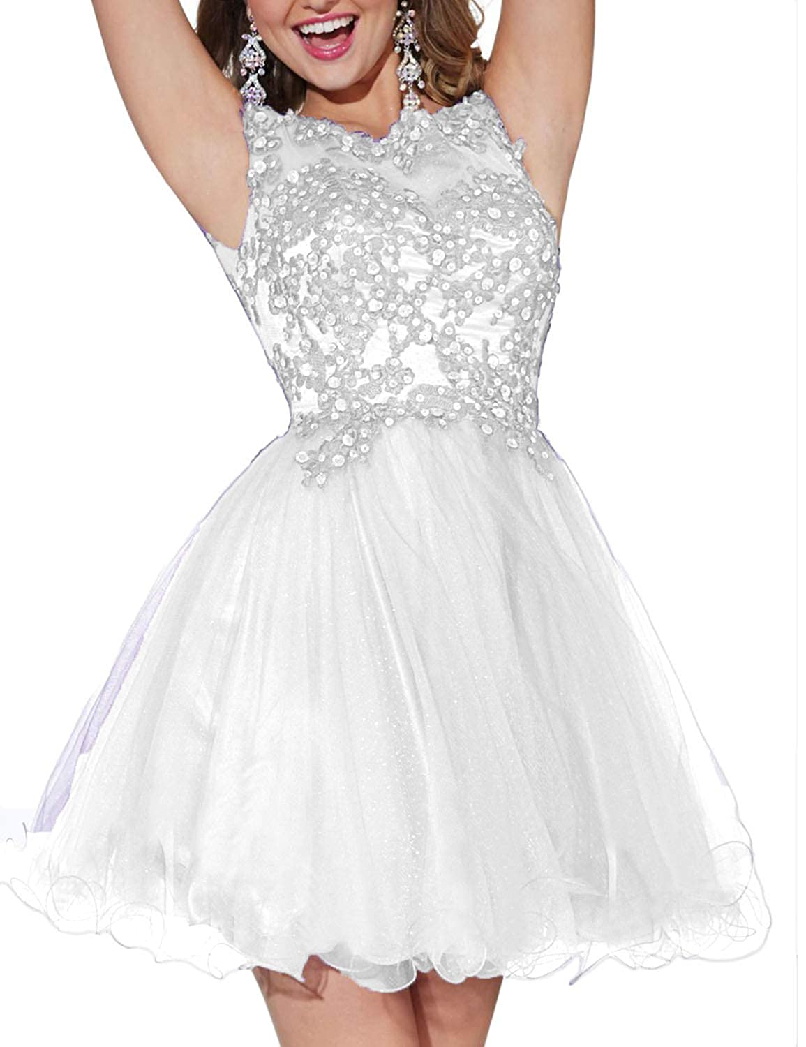 3a37c7d1a4a YIRENWANSHA Juniors Homecoming Dresses 2018 Manual Beaded Short Party Gown  Tulle Cocktail Dress H019 at Amazon Women s Clothing store