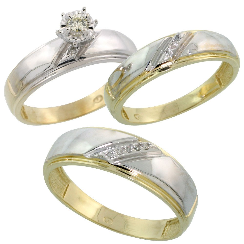 Gold Plated Sterling Silver Diamond Trio Wedding Ring Set His 7mm & Hers 5.5mm, Ladies Size 7