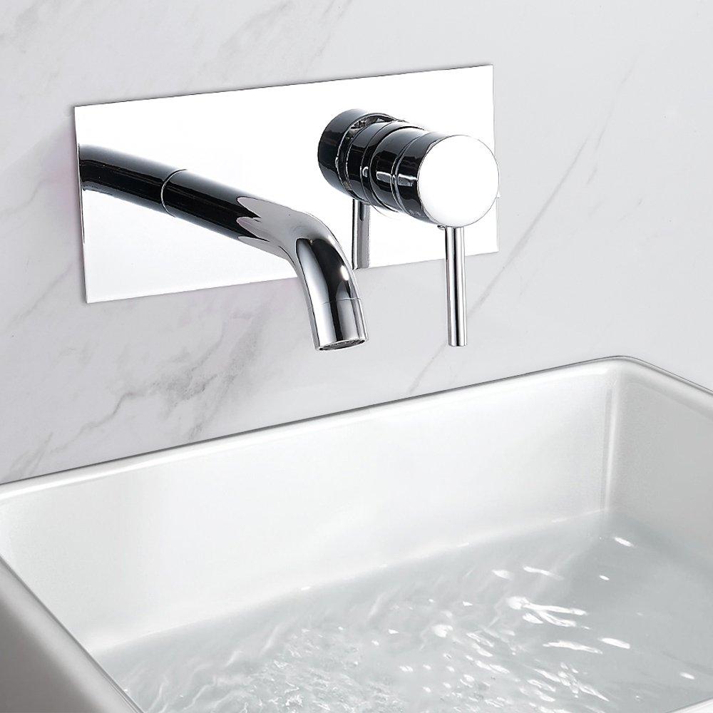 De Salle de Bain Robinets de lavabo à fixation murale Mono Chrome monobloc vestiaire Niveau Unique Mélangeur robinet Librao