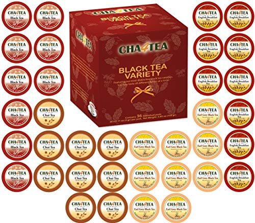 (Cha4TEA 36-Count K Cups Assorted Black Tea Sampler for Keurig K-Cup Brewers (Black Tea, English Breakfast, Chai Black Tea, Earl Grey))