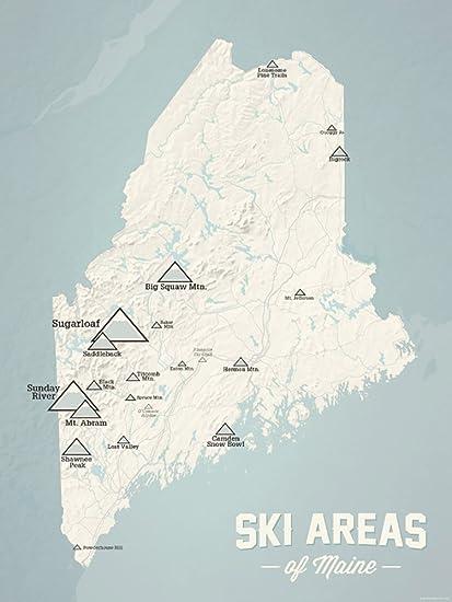 Ski Resorts In Maine Map.Amazon Com Maine Ski Resorts Map 18x24 Poster Beige Opal Blue