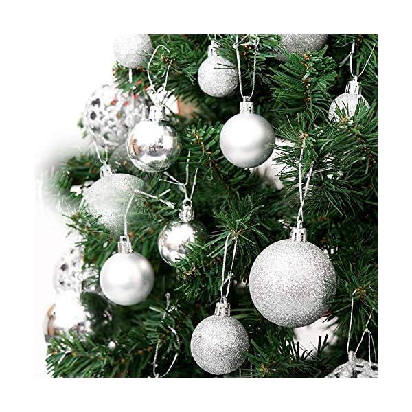 ZFYQ 100Pcs Palle di Natale, Set di Palline Decorative da Appendere per Decorazioni Natalizie per L'Albero, Argento 3 spesavip