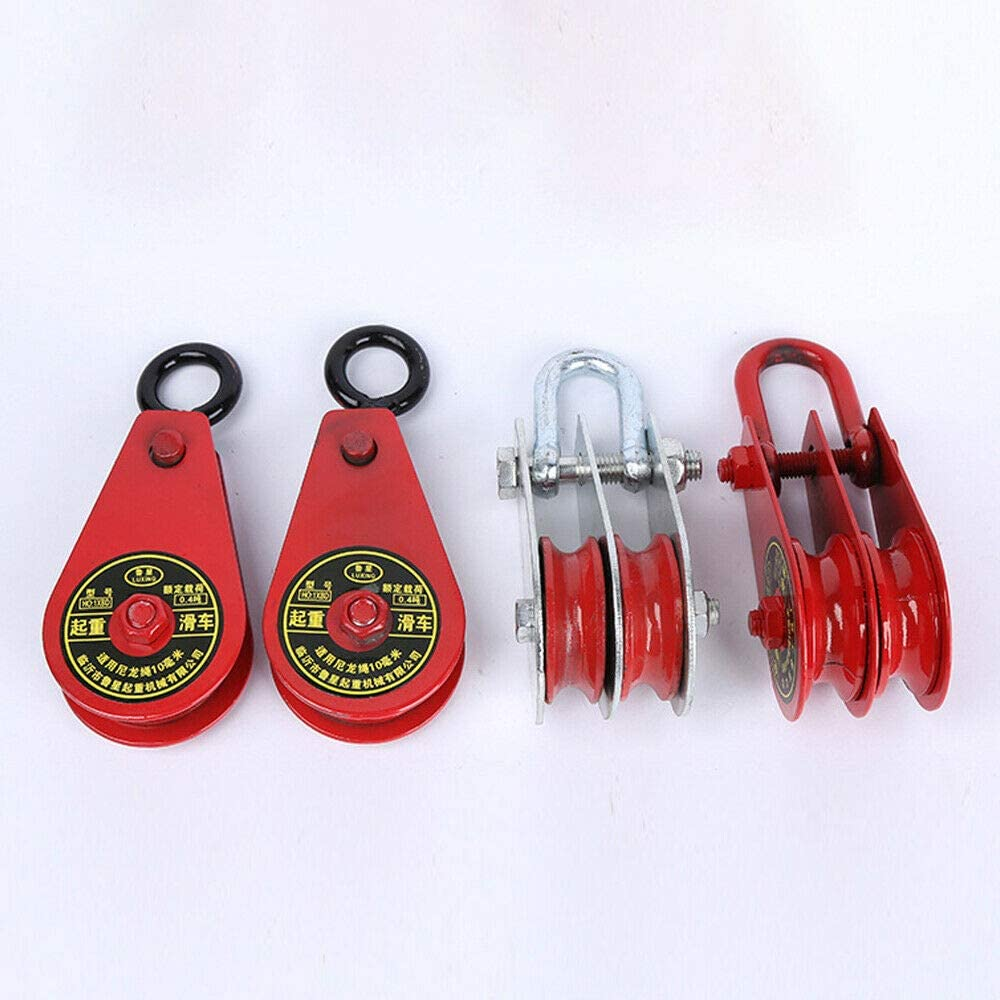 Double Pulley SENRISE Pulley Block Iron Heavy Duty Lifting Swivel Pulley Loading 0.4T for Wire Rope Lifting Rope Silver