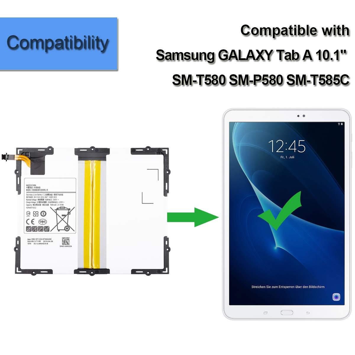 Tools Neuer Ersatzakku EB-BT585ABA EB-BT585ABE Kompatibel mit Samsung Galaxy Tab A 10.1 2016 TD-LTE SM-P580 SM-P585M SM-T580