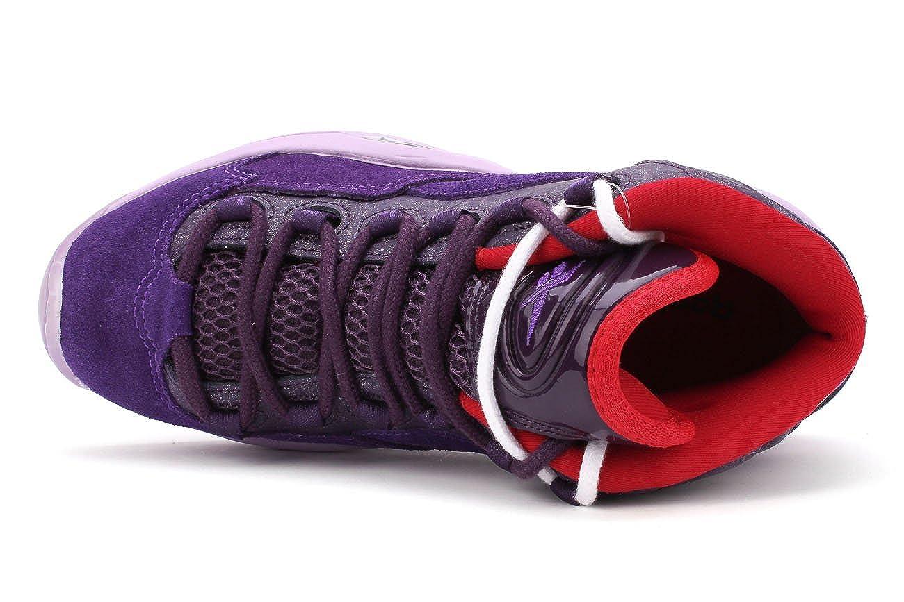 Purple Ink//Fearless Purple-Purple//Oasis-Red Reebok Question Mid Basketball Shoes Big Kid